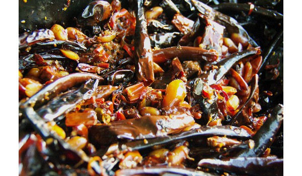 a mix a blachan, dried shrimp, fresh and dried chillies